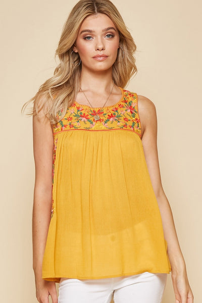 Embroidered Tunic Top- Marigold