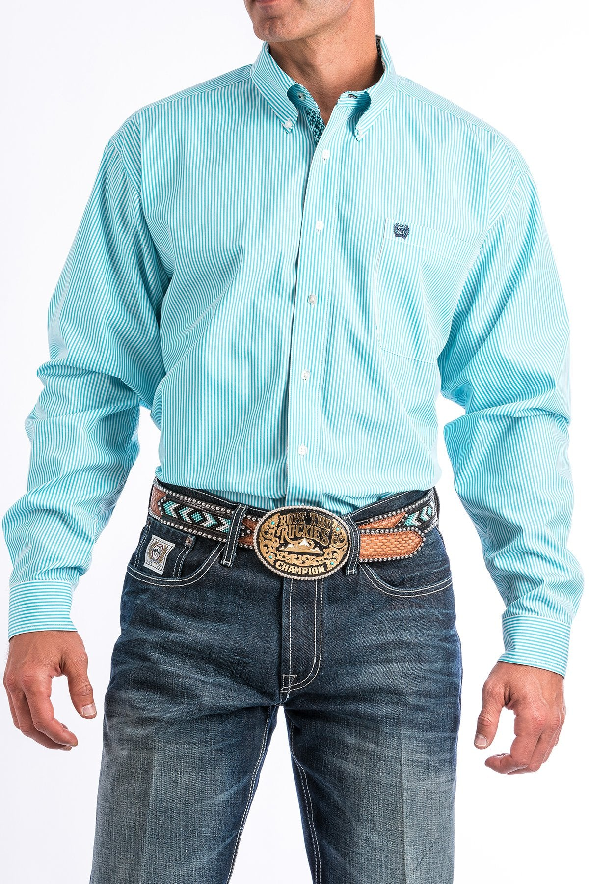 724037fb5e8f Turquoise and White Striped Western Button-Down Shirt - Adams Tack