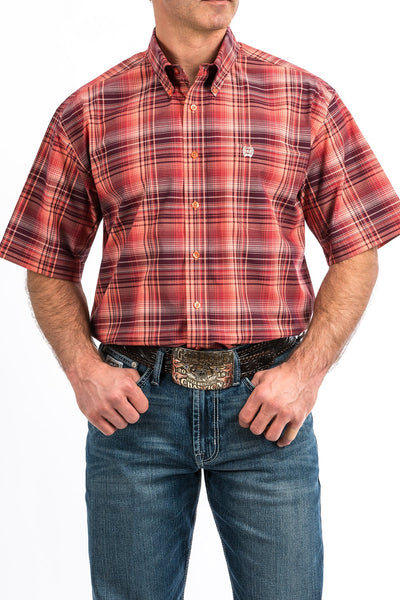 MENS SHORT SLEEVE CORAL AND BURGUNDY PLAID BUTTON-DOWN WESTERN SHIRT