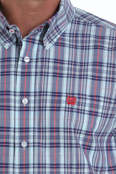 MENS SHORT SLEEVE NAVY, RED AND TURQUOISE PLAID BUTTON-DOWN WESTERN SHIRT