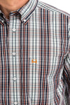MENS SHORT SLEEVE ARENAFLEX BUTTON-DOWN SHIRT - ORANGE/NAVY PLAID