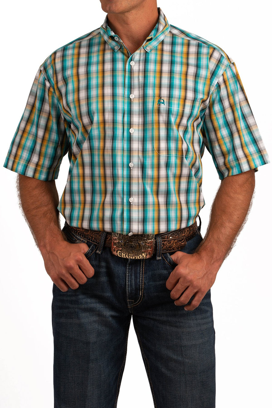 185f2c41 MENS SHORT SLEEVE ARENAFLEX BUTTON-DOWN SHIRT - TURQUOISE, WHITE AND GOLD  PLAID