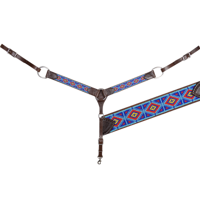 TURQUOISE AND RED BEADED BREAST COLLAR