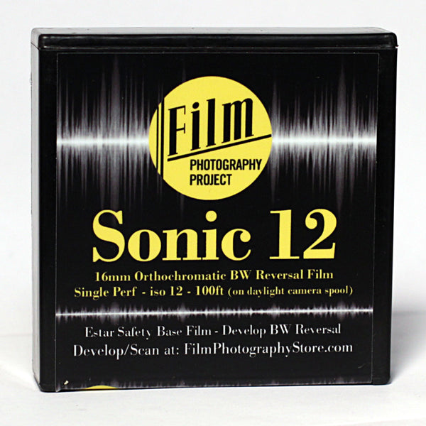 16mm Film - Single Perf Fresh - FPP Sonic12 BW Reversal - 100 ft