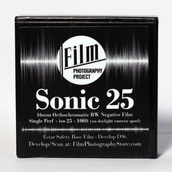 16mm Film - Single Perf Fresh - FPP Sonic25 BW Negative - 100 ft