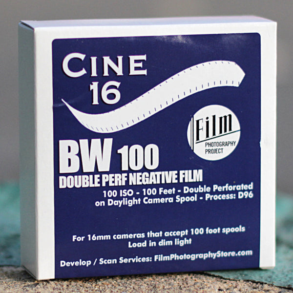 16mm Film - Double Perf - CINE16 BW Negative 100 iso - 100 ft