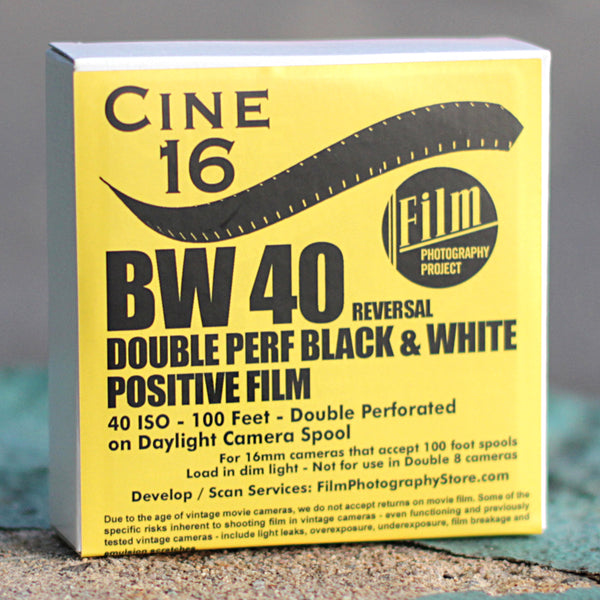 16mm Film - Double Perf - CINE16 BW Reversal 40 iso - 100 ft