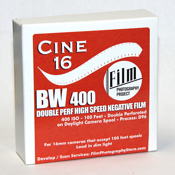 16mm Film - Double Perf - CINE16 BW Negative 400 iso - 100 ft