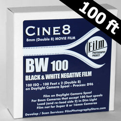 Double 8 Film - Cine8 BW Negative 100 ISO High Speed (100 ft)
