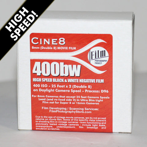 Double 8 Film - Cine8 BW Negative 400 ISO High Speed (25 ft)