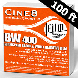 Double 8 Film - Cine8 BW Negative 400 ISO High Speed (100 ft)