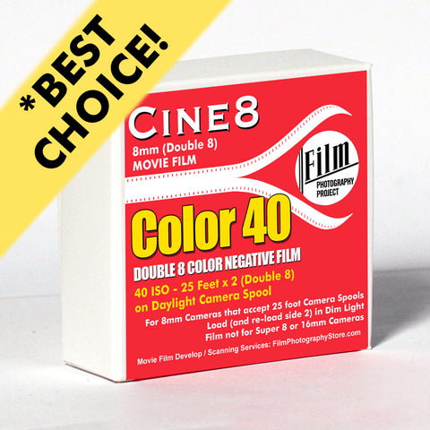 Double 8 Film - Cine8 Color Negative 40 - Daylight (25 ft - 40 ISO)