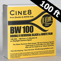 Double 8 Film - Cine8 BW Reversal 100 ISO (100 ft)