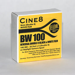 Double 8 Film - Cine8 BW Reversal 100 ISO (25 ft)