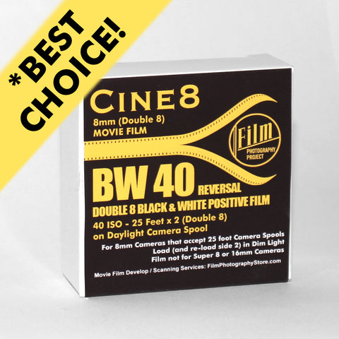 Double 8 Film - Cine8 BW Reversal 40 ISO (25 ft)