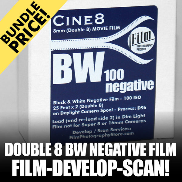 Double 8 Film - BUNDLE - Film / Develop / Scan - BW Negative (25 FT - 100 ISO)