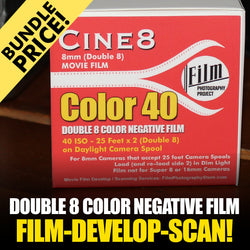 Double 8 Film - BUNDLE - Film / Develop / Scan - Color Negative (25 FT - 40 ISO)