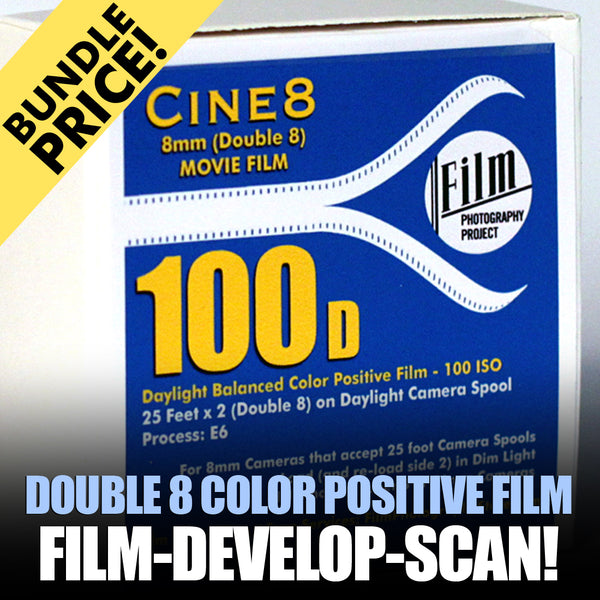 Double 8 Film - BUNDLE - Film / Develop / Scan - Color Reversal (25 FT - 100 ISO)