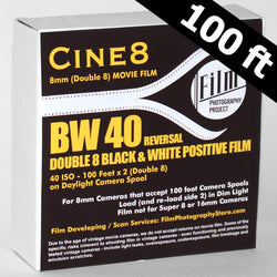 Double 8 Film - Cine8 BW Reversal 40 ISO (100 ft)