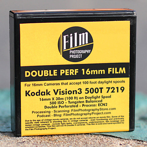 16mm Film - Double Perf - Kodak Vision3 500T 7219 - 100 ft
