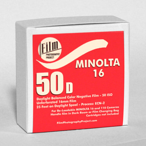 Minolta 16 - FPP 50D Color Negative - 25 ft (16mm - No Perf)