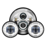 "Chrome 7"" LED Harley Daymaker Style Headlight with Auxiliary Passing Lamps"