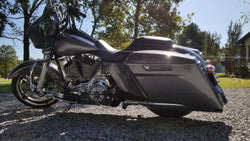 Color Matched Vivid Black CVO Style Extended Saddlebag, Lids, Side Covers & Fender Extension  2014+ Touring