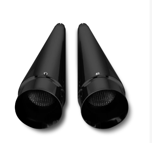 "DNA 4"" Megaphone Black Slip-On Muffler Exhaust Pipes -  Harley Touring"