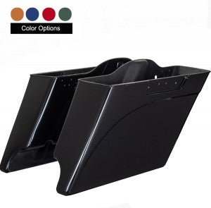 "Advanblack 4.5"" Stretched Extended Saddlebag Bottoms [dual cut] & Matching Fender Extension  - Vivid Black  - Harley 2009-2013"