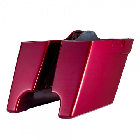 "Advanblack Hard Candy Hot Rod Red Flake 4.5"" Stretched Extended Saddlebags for Harley '14-'18 Touring"