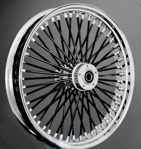 "DNA Chrome Mammoth 52 Fat Spoke Wheel Package - 21"" /  18 x 5.5 Wheels w/ Tires & set 11.8 Rotors"