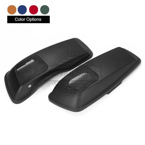 Advanblack Color-Matched Saddlebag Speaker Lids Cover - VIVID BLACK - Harley Touring 14-18