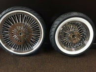 "DNA Chrome Mammoth 52 Fat Spoke Wheel Package - 21"" /  18 x 5.5 Wheels w/ Whitewall Tires & set 11.8 Rotors"