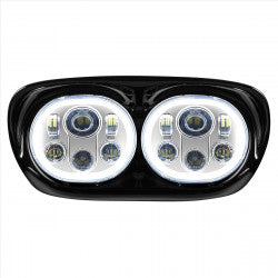 Harley Road Glide Dual Chrome Halomaker LED Headlight