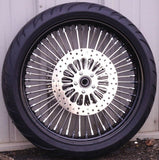 "Chrome Mammoth 52 Fat Spoke Wheel Package - 21"" /  18 x 5.5 Wheels w/ Tires & set 11.8 Rotors"