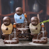 Home Decor Buddha Monk Waterfall Backflow Incense Burner