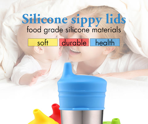 Spill Proof Silicone Sippy Lids (Set of 4)