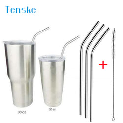 3 Pcs Stainless Steel Metal Drinking Straw Reusable Straws + 1 Cleaner Brush Kit