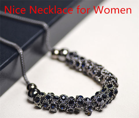 Imitation Blue diamonds rhinestone gem crystal necklace