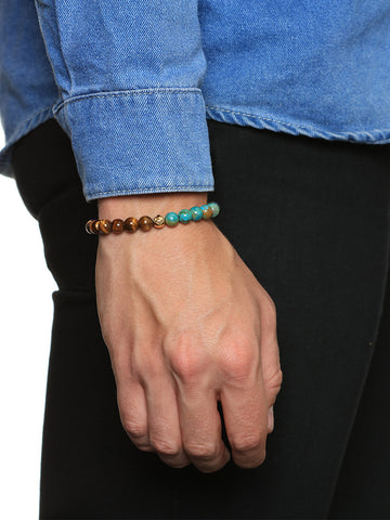 Bleu Lapis, Œil de Tigre, Bali Turquoise et or -'S 14K Gold Collection Men
