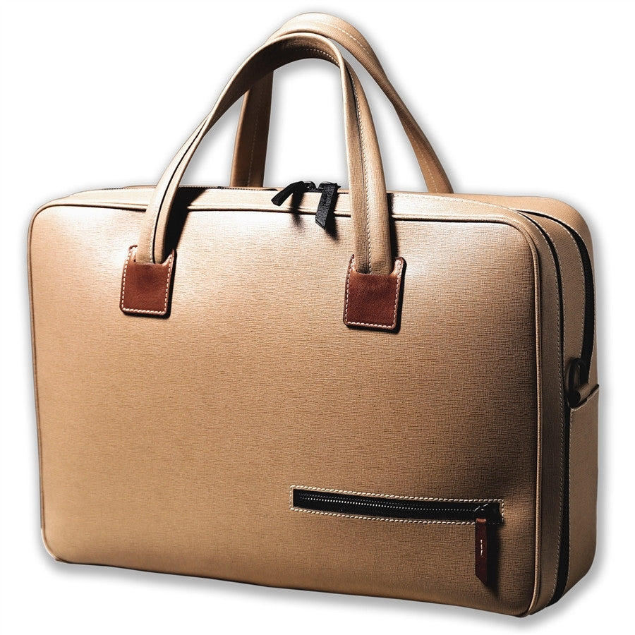 Sac homme cuir format 48h double compartiment LARGO BEIGE
