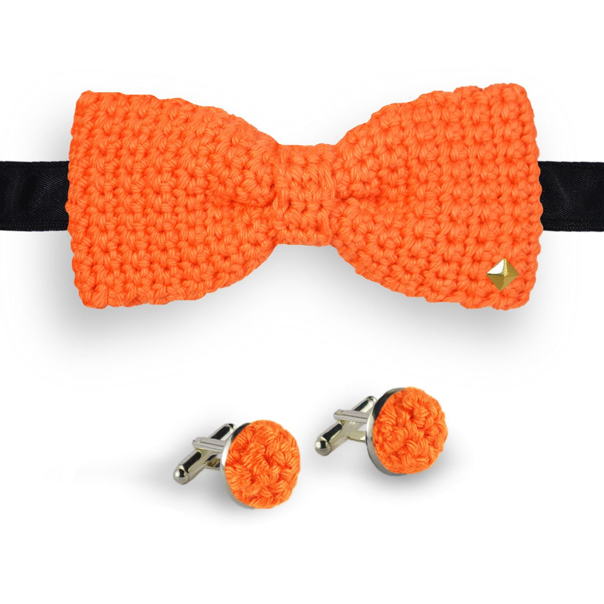 Coffret noeud papillon boutons de manchette au crochet Truffe orange
