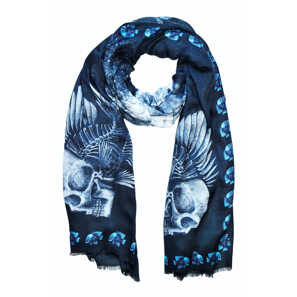 SKULL Fish Blue Scarf