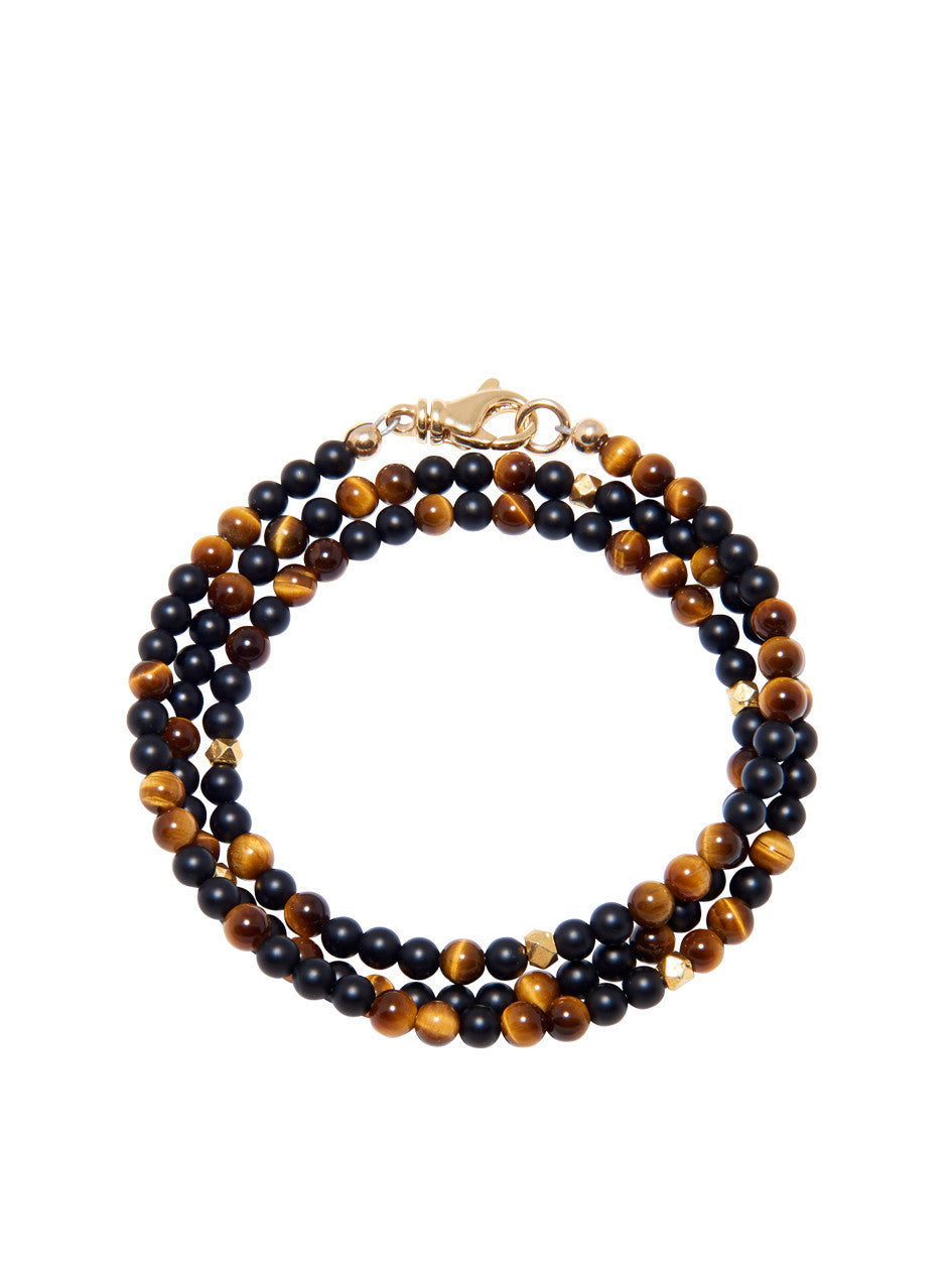 Le Mykonos Collection - Brown Tiger Eye, Matte Onyx et Or