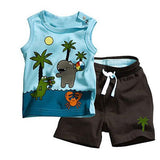 2 pcs Coconut Tree Pattern Sleeveless Top & Bottom 0-3Y