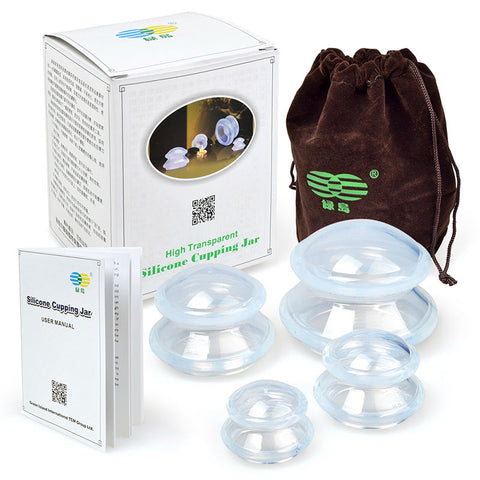 4 Cup Premium Transparent Silicone Cupping Set for $28.99 at Physioweb Store