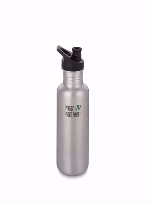 Klean Kanteen 27 fl oz classic stainless steel waterbottle.BRUSHED STAINLESS STEEL SPORTS CAP