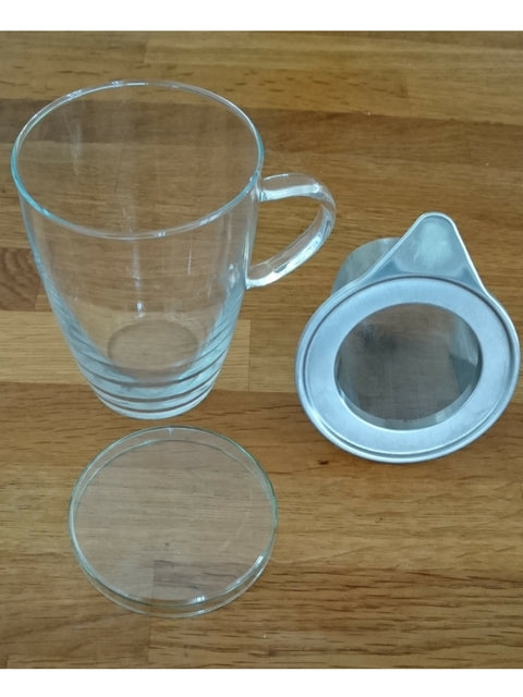 glass tea cup stainless steel infuser, No plastic/loose tea