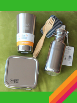plastic free, zero waste starter kit. reusable cup,water bottle, lunch box, bamboo cutlery