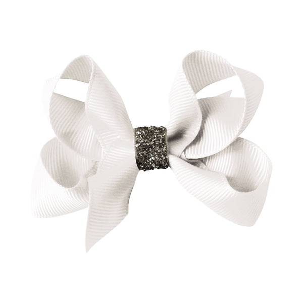 Medium Boutique Bow Clip - White Glitter